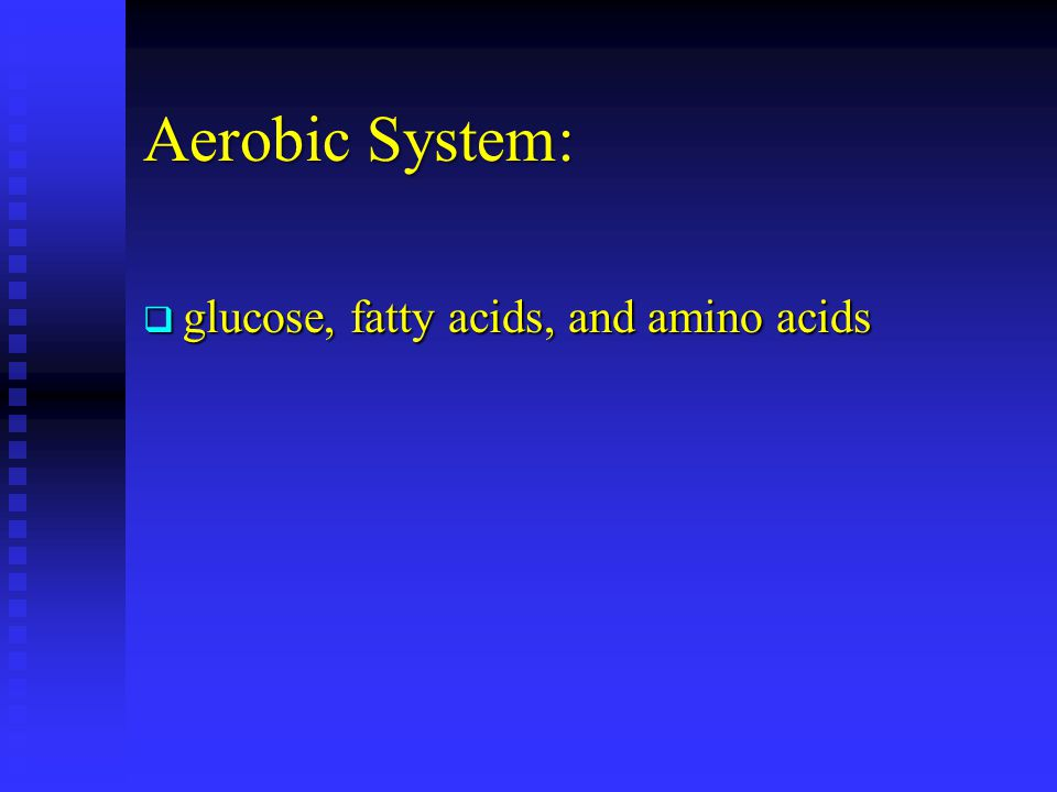 Aerobic System: glucose, fatty acids, and amino acids
