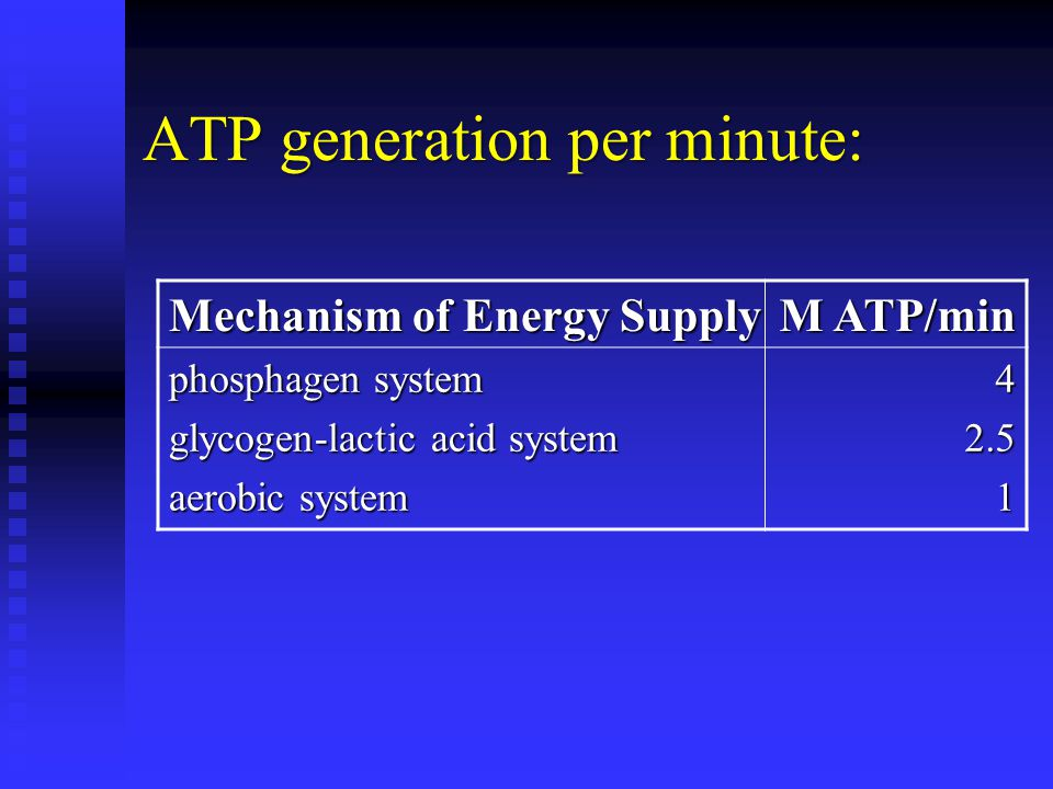 ATP generation per minute: