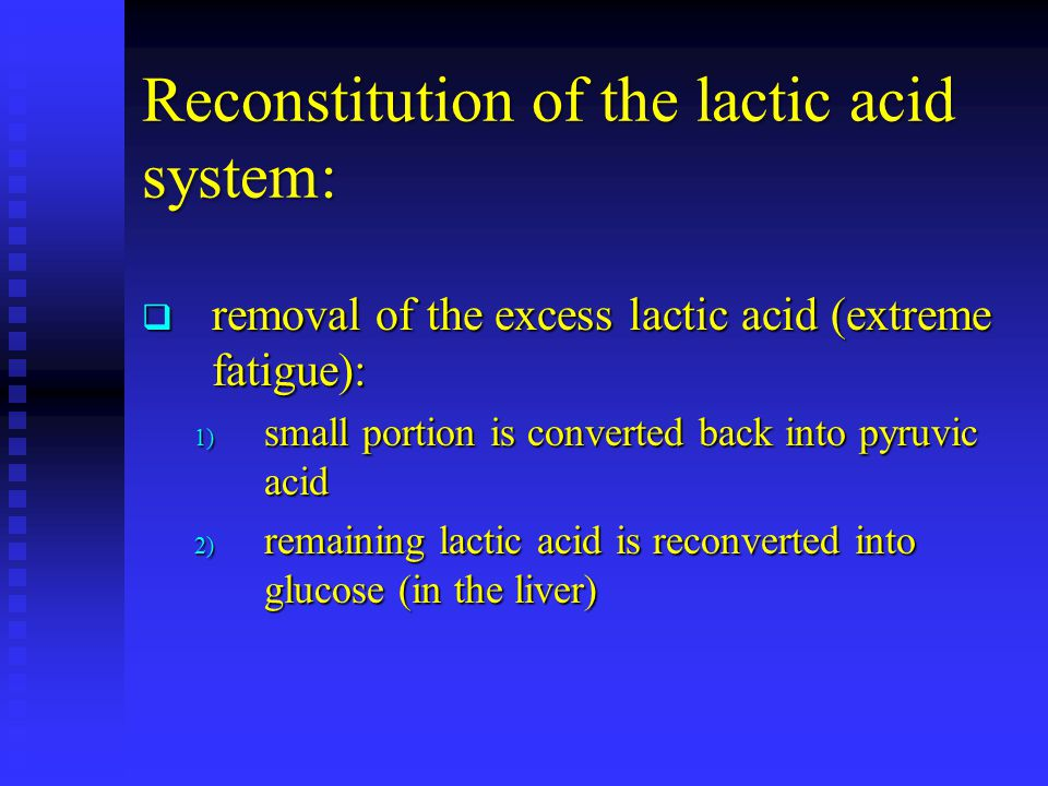 Reconstitution of the lactic acid system: