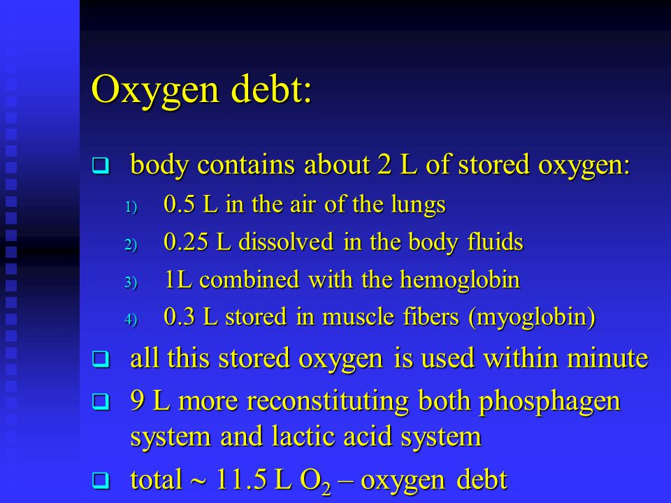 Oxygen debt: body contains about 2 L of stored oxygen: