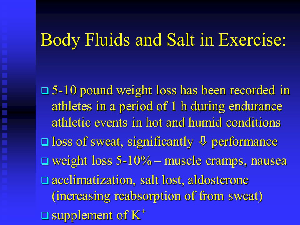 Body Fluids and Salt in Exercise: