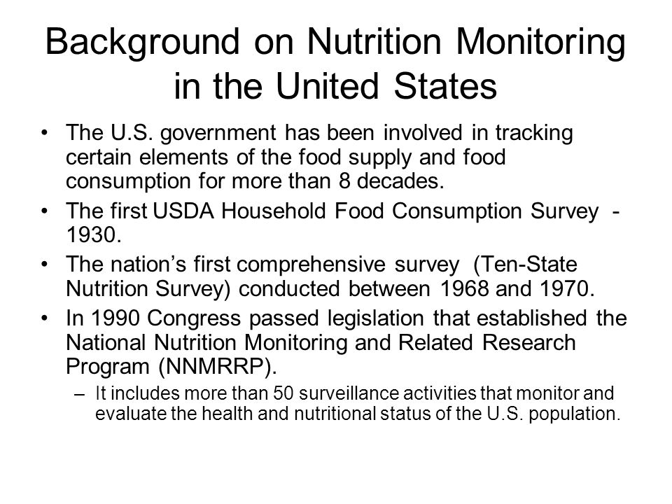 Background on Nutrition Monitoring in the United States