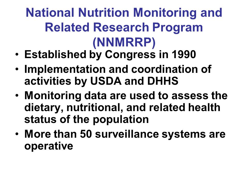 National Nutrition Monitoring and Related Research Program (NNMRRP)