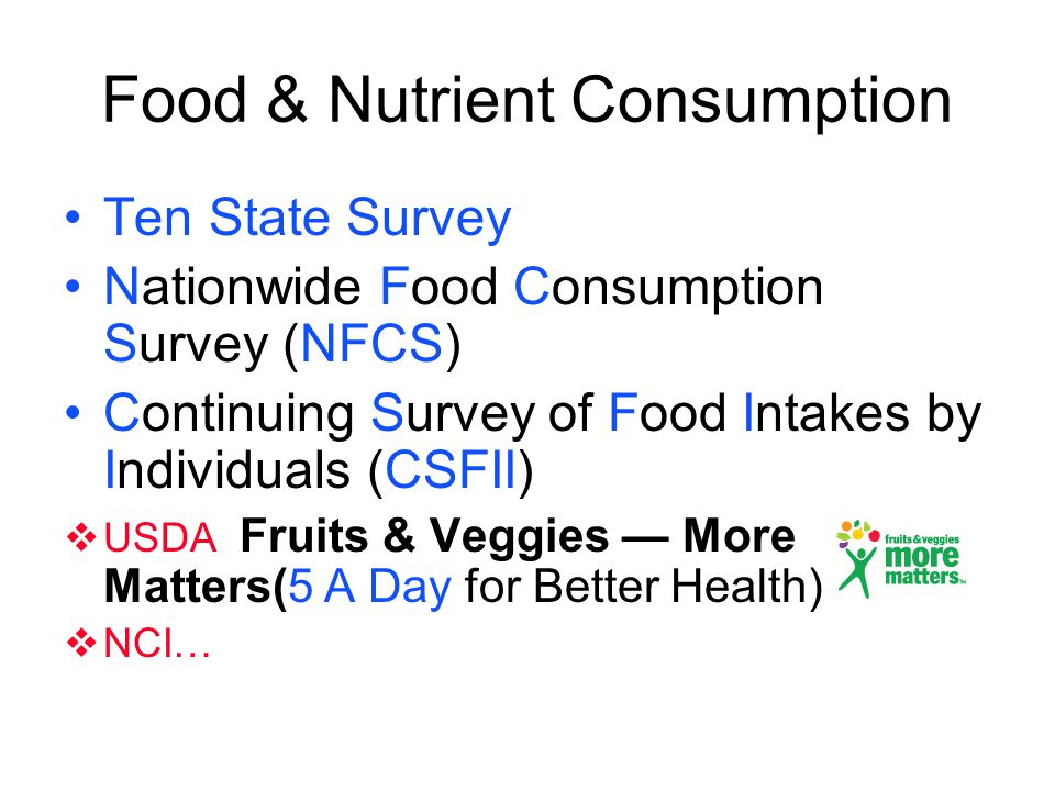 Food & Nutrient Consumption