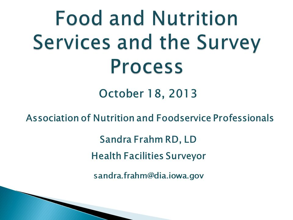 Food and Nutrition Services and the Survey Process