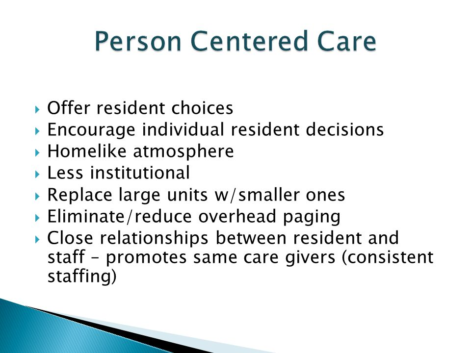Person Centered Care Offer resident choices
