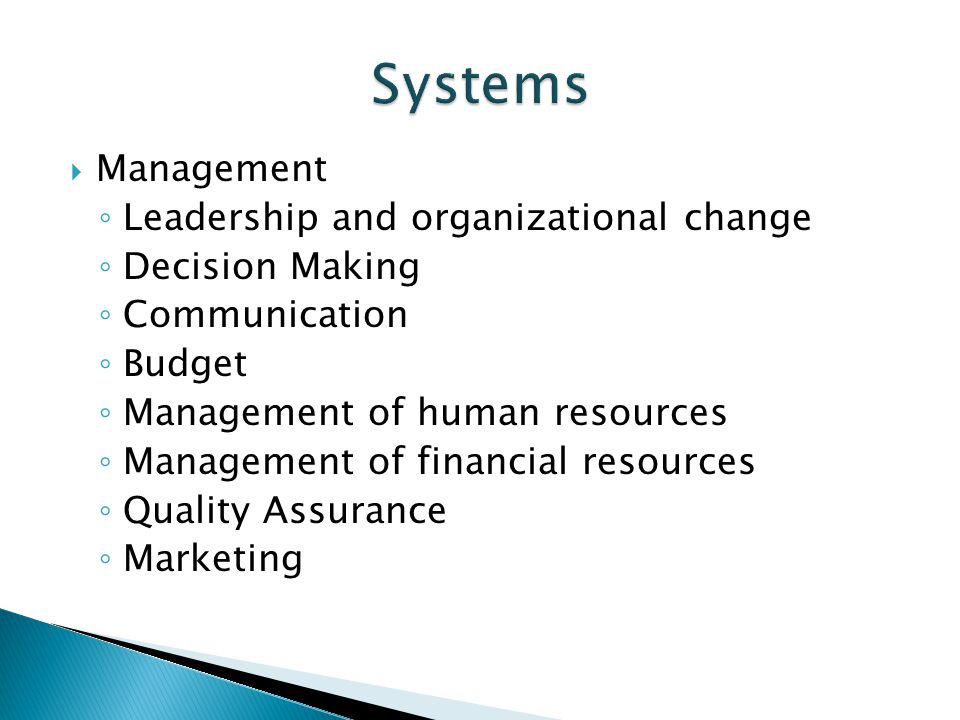 Systems Management Leadership and organizational change