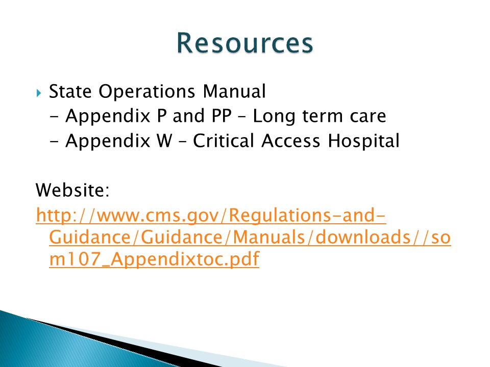 Resources State Operations Manual - Appendix P and PP – Long term care
