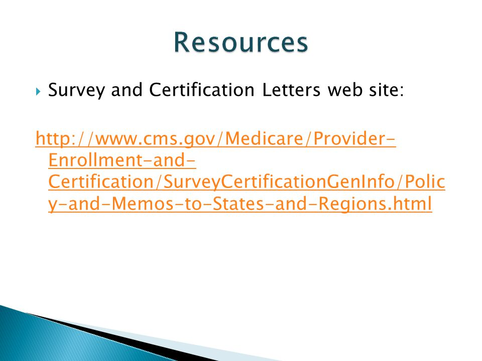 Resources Survey and Certification Letters web site: