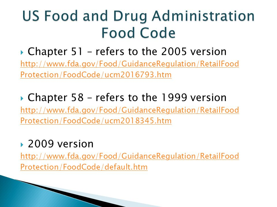 US Food and Drug Administration Food Code