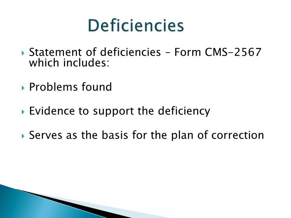 Deficiencies Statement of deficiencies – Form CMS-2567 which includes: