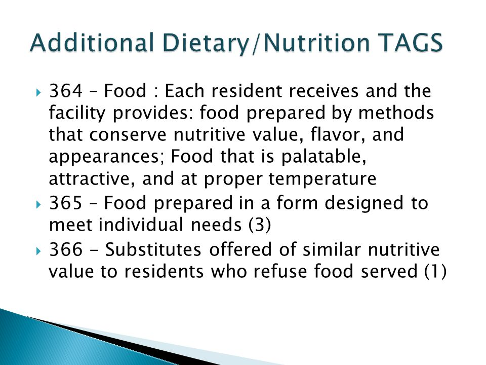Additional Dietary/Nutrition TAGS