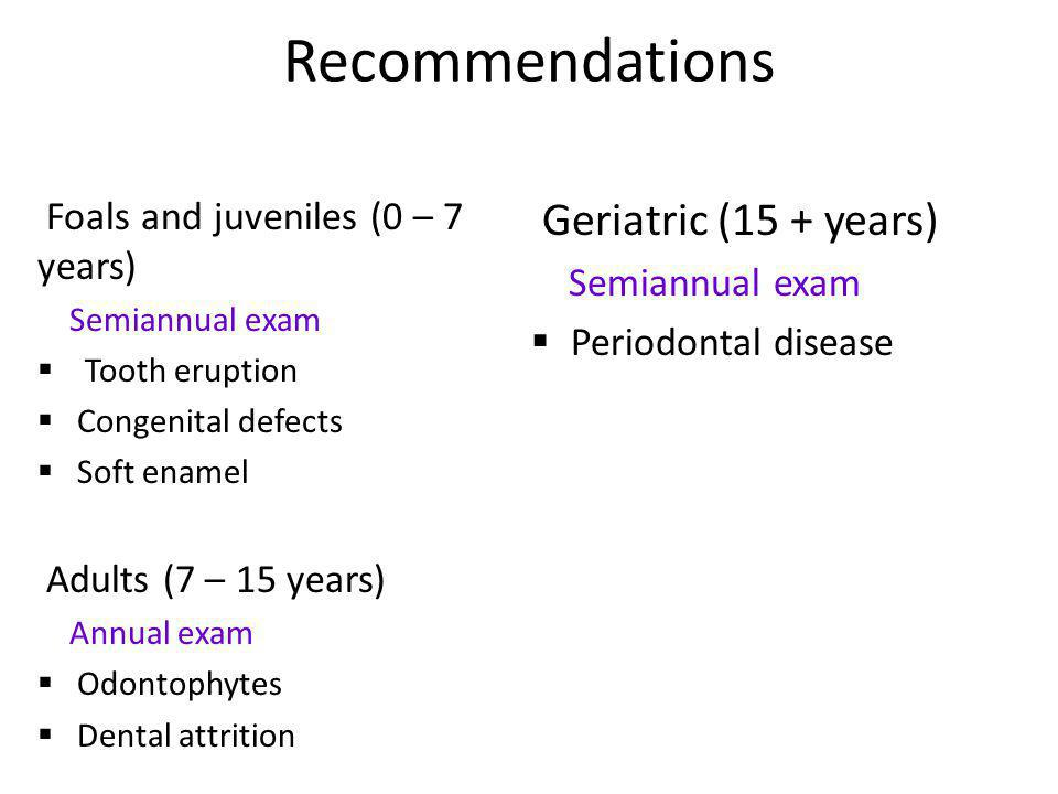 Recommendations Geriatric (15 + years)