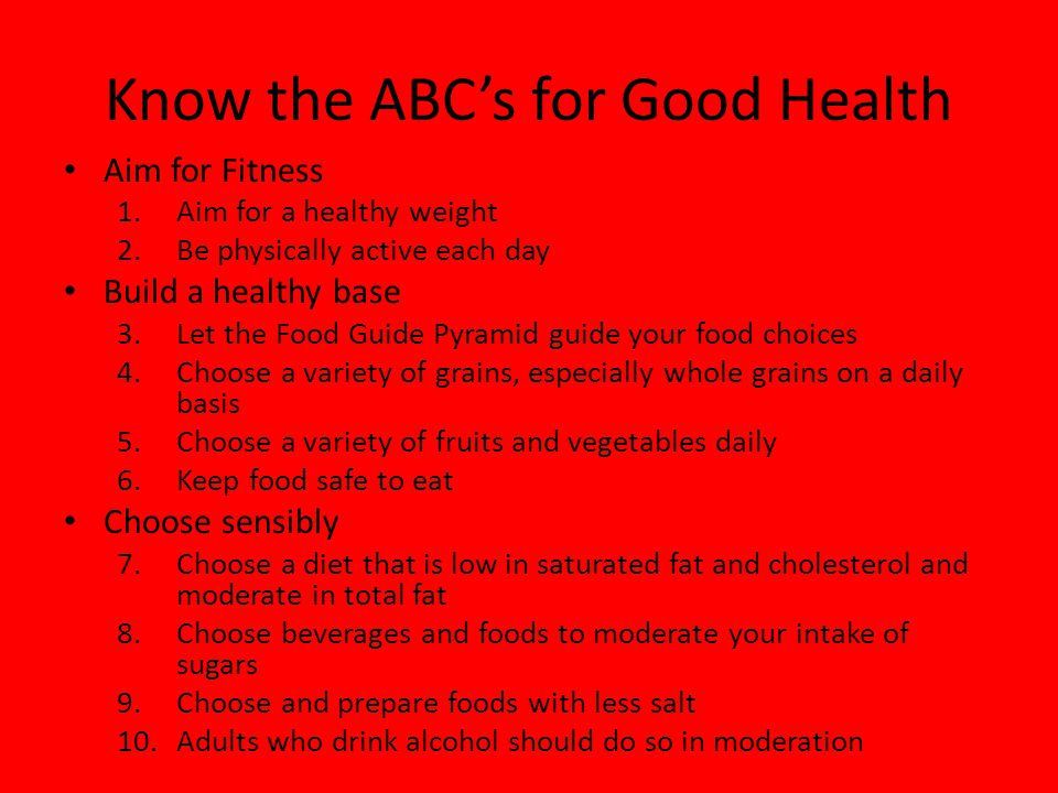 Know the ABC's for Good Health
