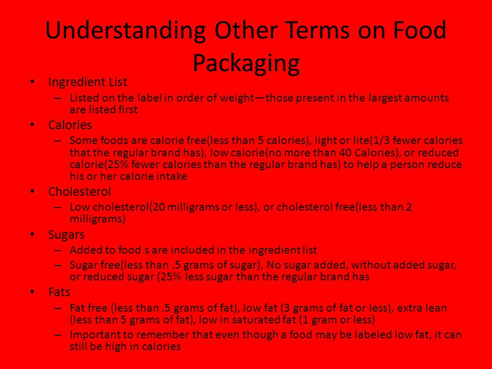 Understanding Other Terms on Food Packaging