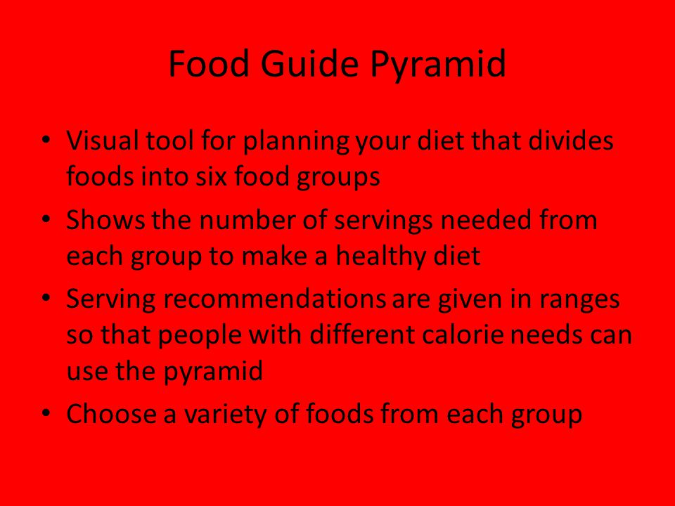 Food Guide Pyramid Visual tool for planning your diet that divides foods into six food groups.