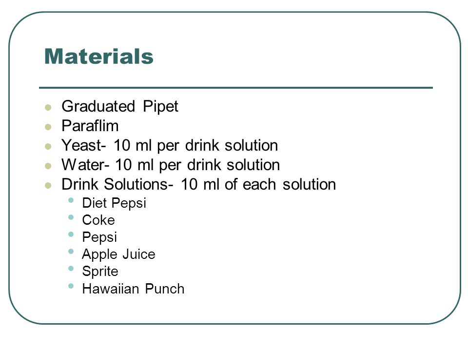 Materials Graduated Pipet Paraflim Yeast- 10 ml per drink solution