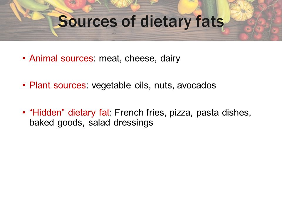 Sources of dietary fats