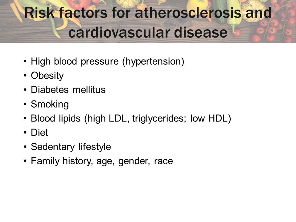 Risk factors for atherosclerosis and cardiovascular disease