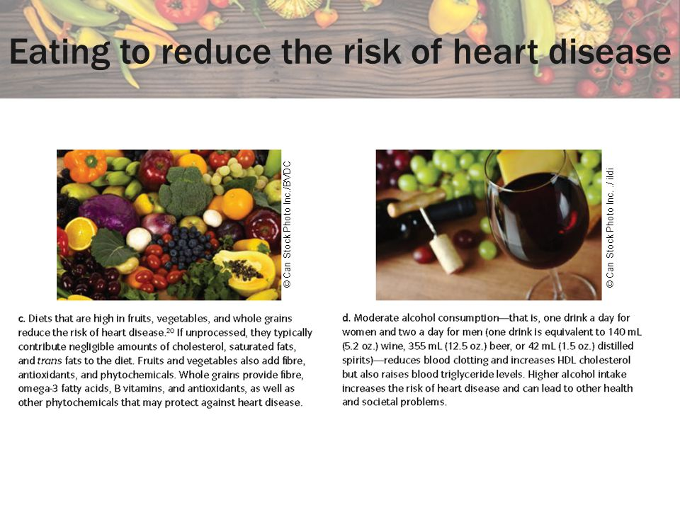 Eating to reduce the risk of heart disease