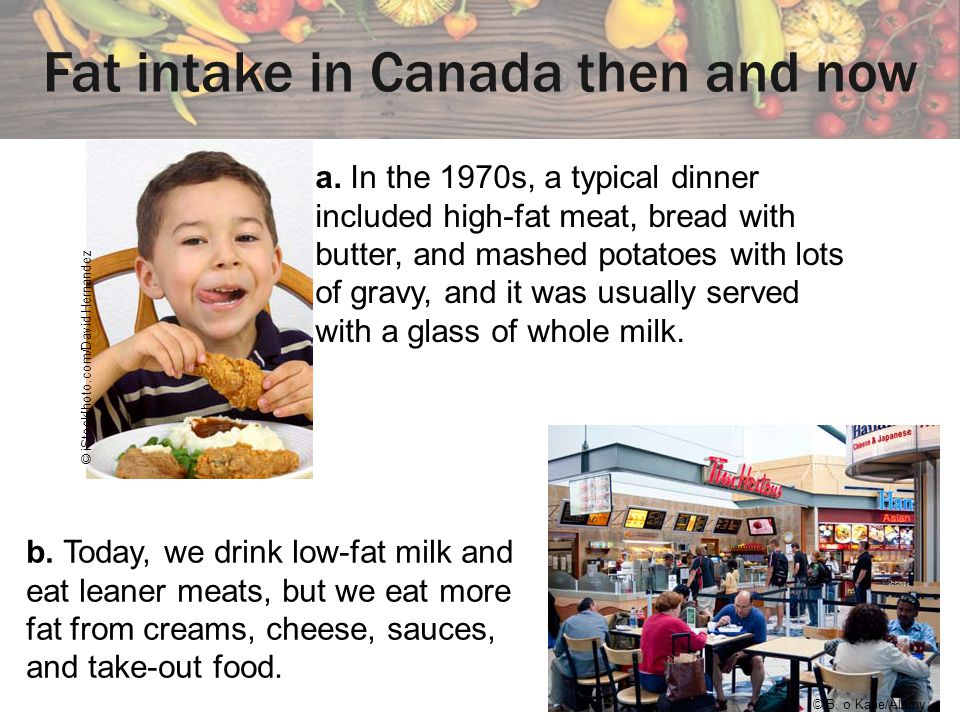 Fat intake in Canada then and now