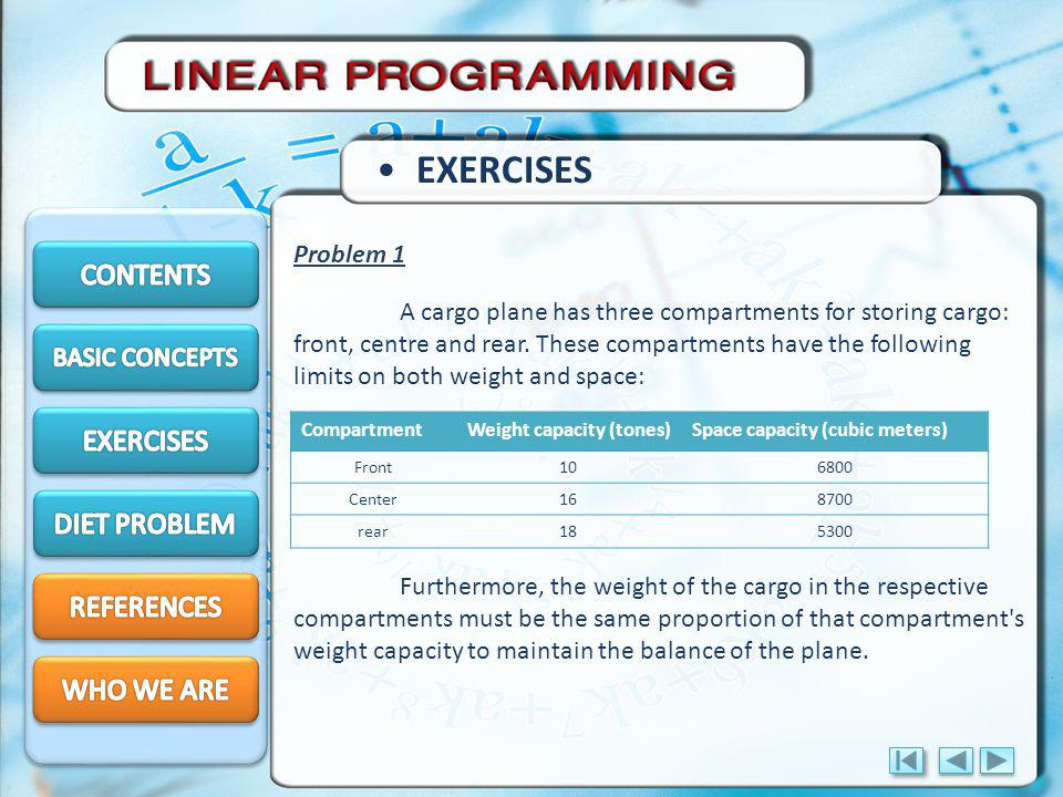 EXERCISES CONTENTS EXERCISES DIET PROBLEM REFERENCES WHO WE ARE