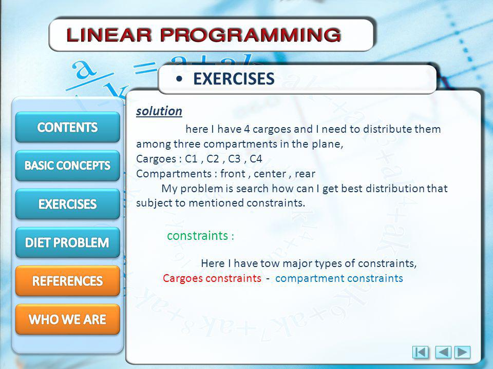 EXERCISES solution CONTENTS EXERCISES constraints : DIET PROBLEM