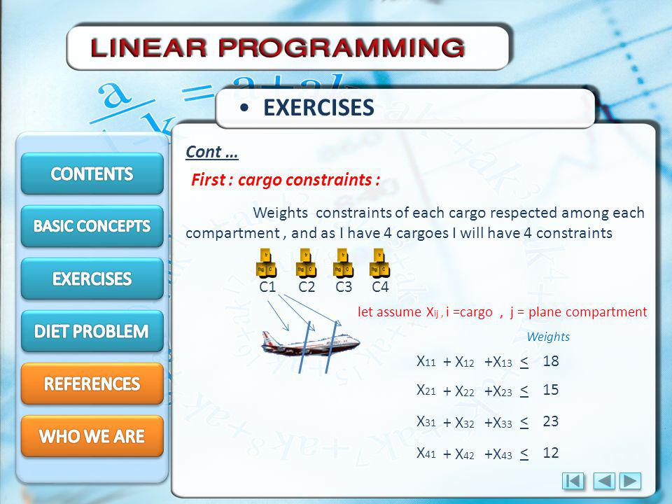 EXERCISES Cont … CONTENTS First : cargo constraints : EXERCISES