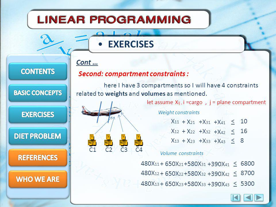 EXERCISES Cont … CONTENTS Second: compartment constraints : EXERCISES