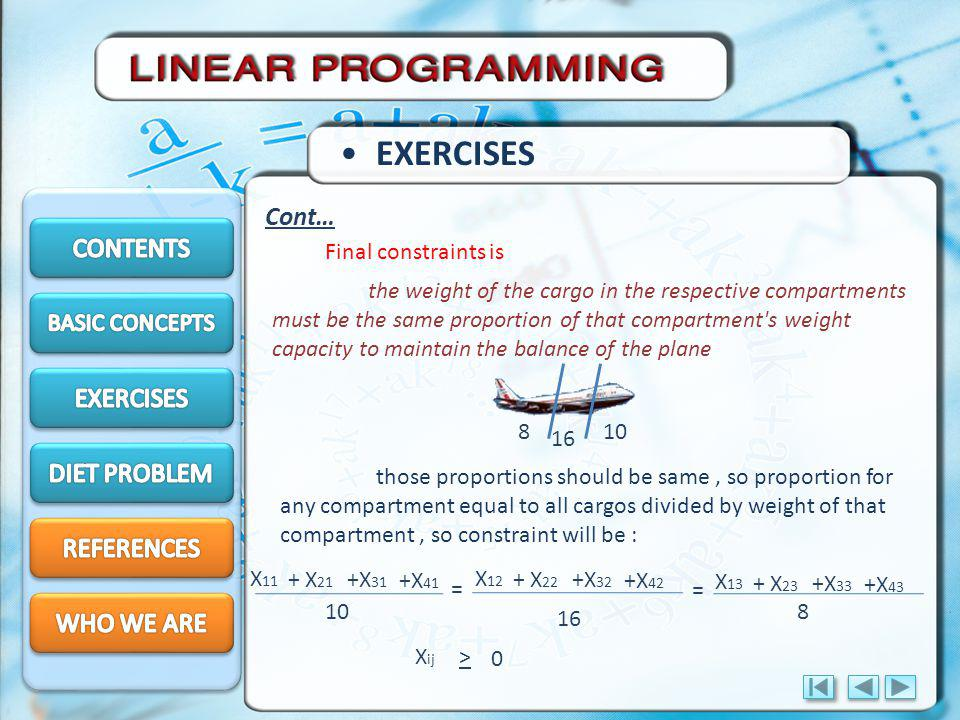 EXERCISES Cont… CONTENTS EXERCISES DIET PROBLEM REFERENCES WHO WE ARE