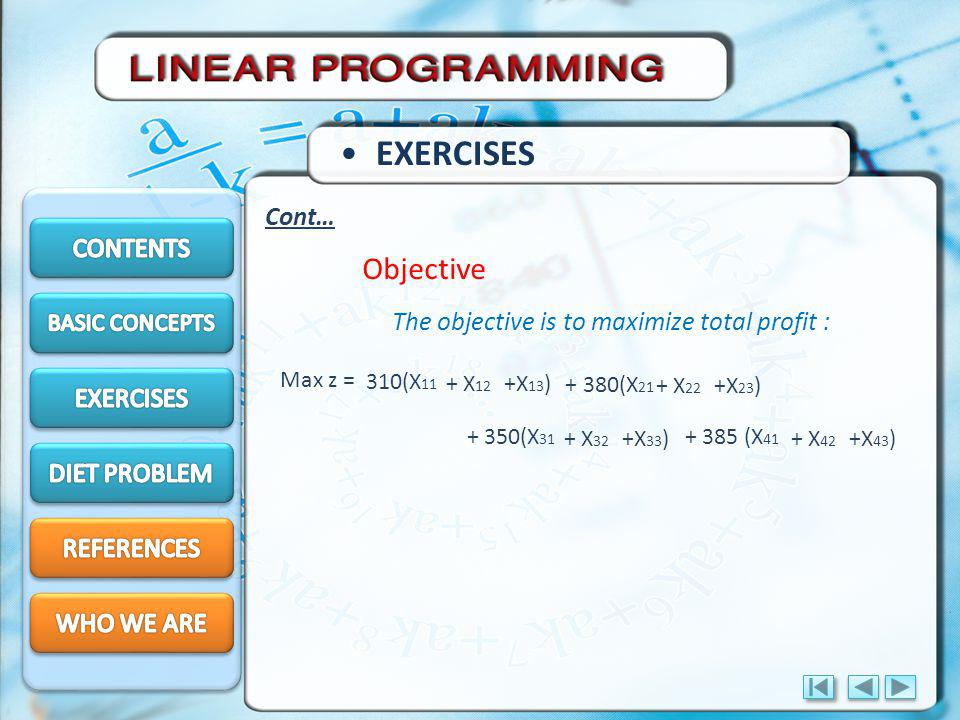 EXERCISES Objective Cont… CONTENTS