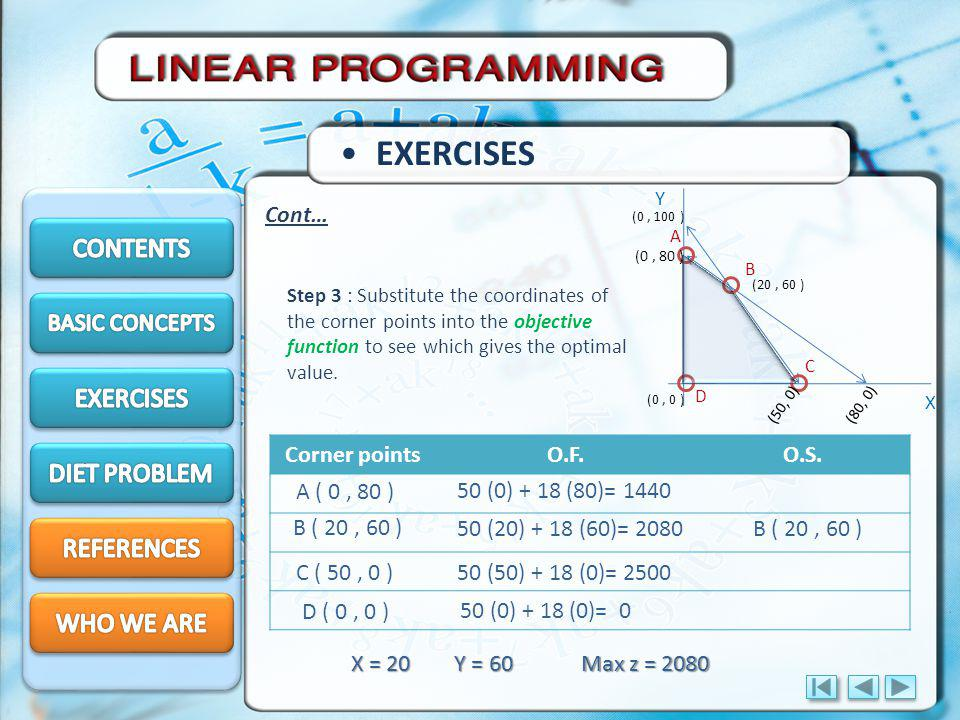EXERCISES CONTENTS EXERCISES DIET PROBLEM REFERENCES WHO WE ARE Cont…