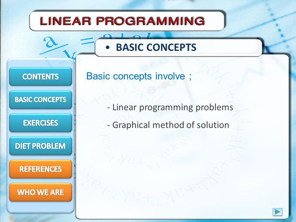 BASIC CONCEPTS Basic concepts involve ; - Linear programming problems