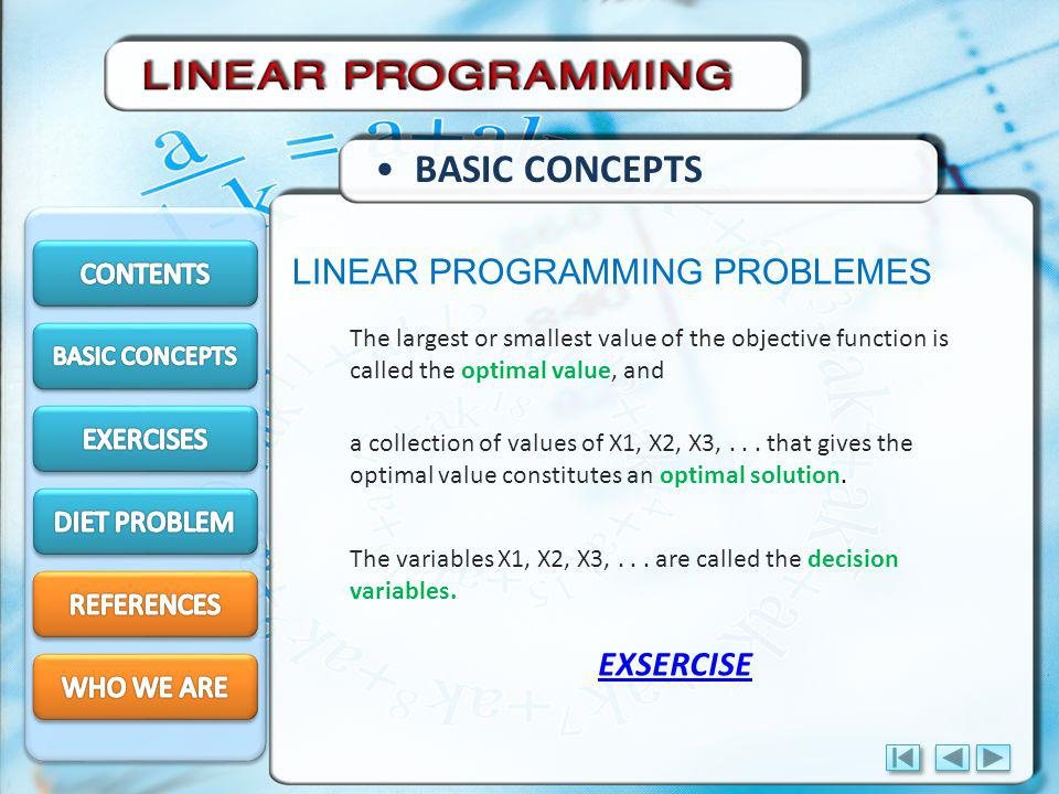 BASIC CONCEPTS LINEAR PROGRAMMING PROBLEMES EXSERCISE CONTENTS