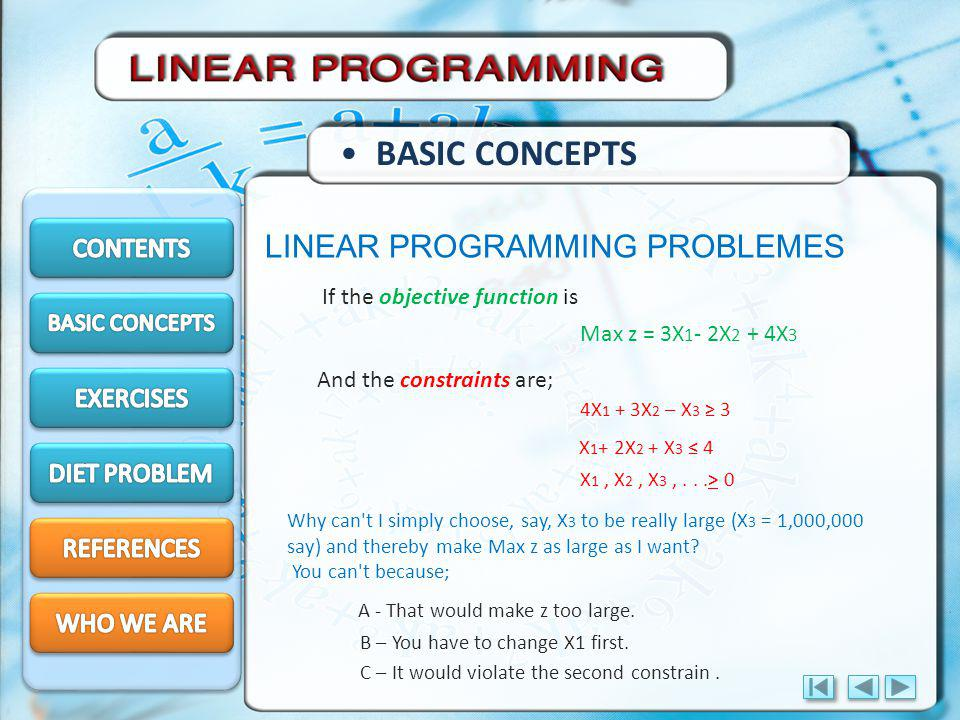 BASIC CONCEPTS LINEAR PROGRAMMING PROBLEMES CONTENTS EXERCISES