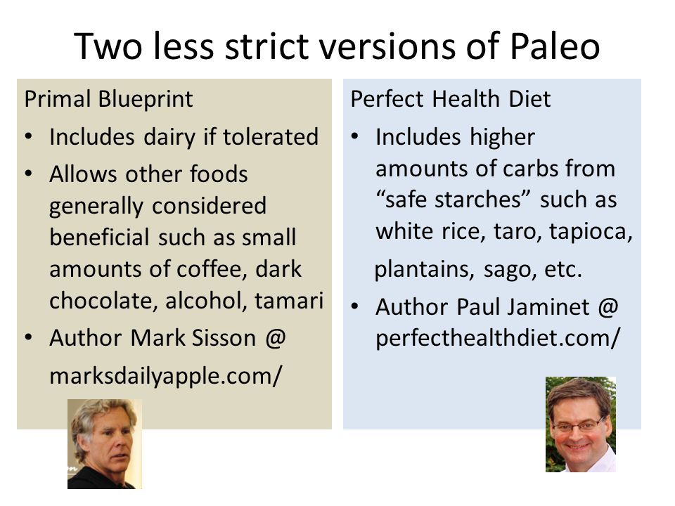Two less strict versions of Paleo