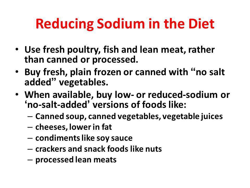 Reducing Sodium in the Diet