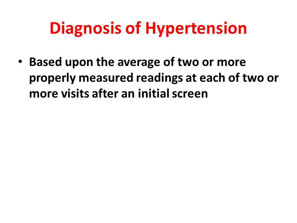 Diagnosis of Hypertension