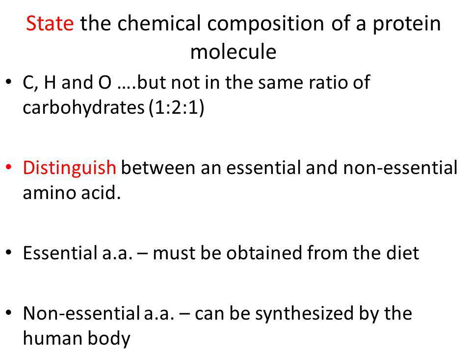 State the chemical composition of a protein molecule