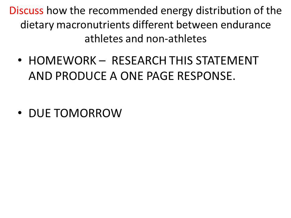 HOMEWORK – RESEARCH THIS STATEMENT AND PRODUCE A ONE PAGE RESPONSE.