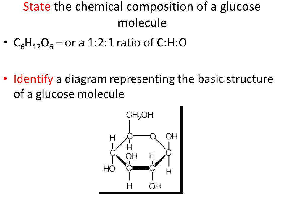 State the chemical composition of a glucose molecule