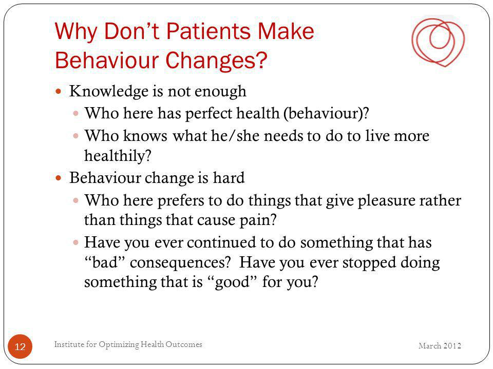 Why Don't Patients Make Behaviour Changes