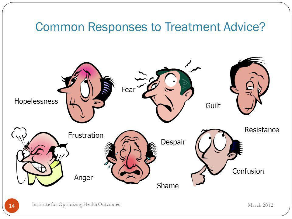 Common Responses to Treatment Advice