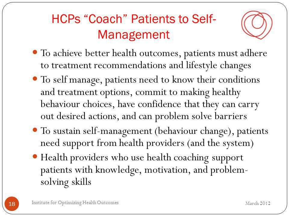 HCPs Coach Patients to Self-Management