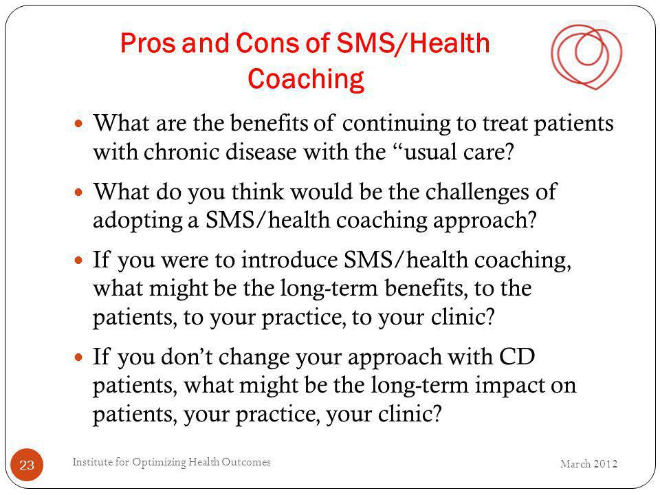 Pros and Cons of SMS/Health Coaching