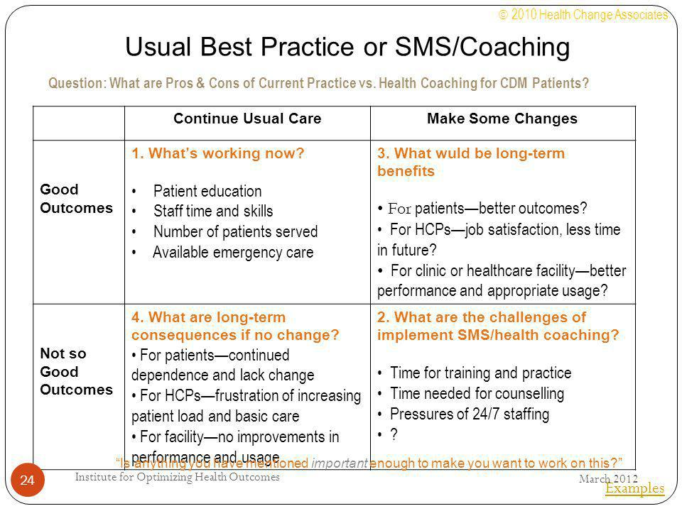 Usual Best Practice or SMS/Coaching