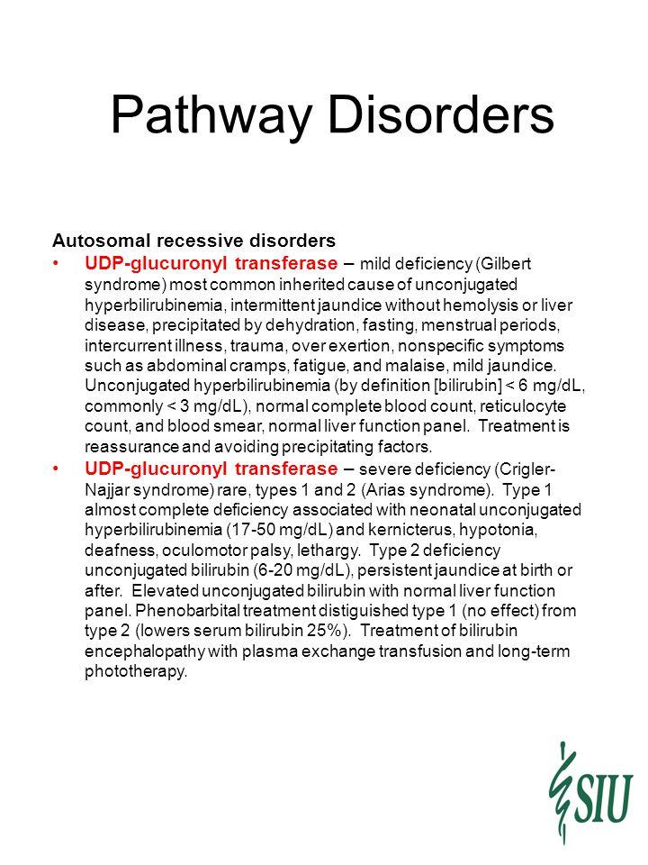 Pathway Disorders Autosomal recessive disorders