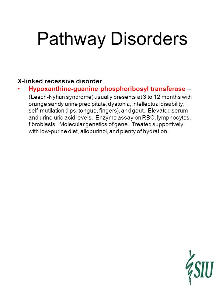Pathway Disorders X-linked recessive disorder