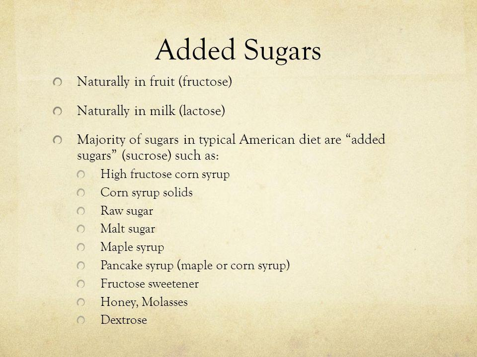 Added Sugars Naturally in fruit (fructose) Naturally in milk (lactose)