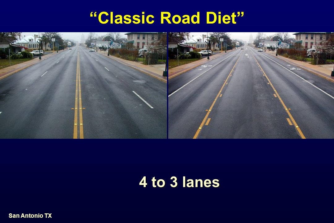 Classic Road Diet 4 to 3 lanes San Antonio TX